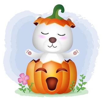 Un simpatico orso polare nella zucca di halloween