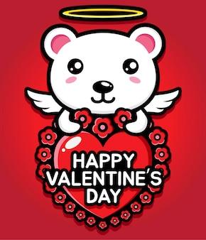 Simpatico orso polare che abbraccia un cuore con auguri di buon san valentino