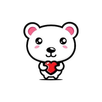 Simpatico orso polare che abbraccia il cuore d'amore
