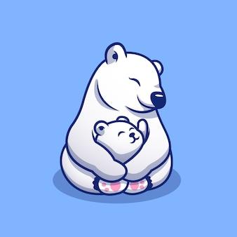 Simpatico orso polare mamma che abbraccia bambino polare cartoon icona illustrazione. icona della famiglia di animali concetto premium. stile cartone animato