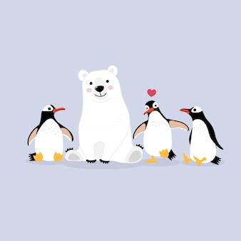 Simpatico cartone animato di orso polare e pinguini