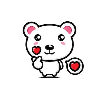 Simpatico orso polare in posa dito amore