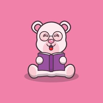 Simpatico orso polare che legge un libro fumetto illustrazione vettoriale