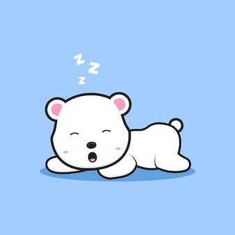 Simpatico orso polare che dorme icona del fumetto. design piatto isolato in stile cartone animato