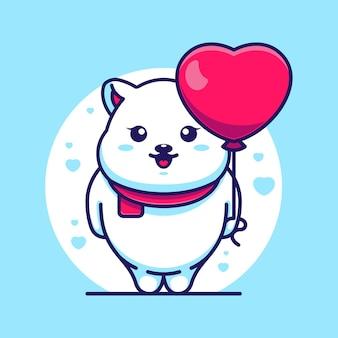 Simpatico orso polare con palloncino cartoon