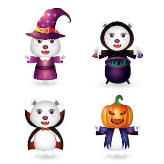 Simpatico orso polare con la collezione di personaggi di halloween in costume
