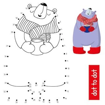 Simpatico orso polare con una tazza di cioccolata calda. unisci i punti in ordine. illustrazione di vettore del gioco di numeri educativi. pagina del libro da colorare con motivo a colori.