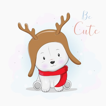 Simpatico orso polare con cappello e sciarpa di cervo
