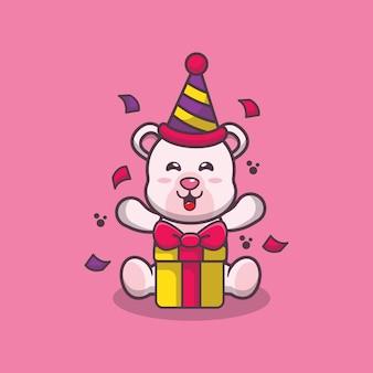 Simpatico orso polare con scatola regalo cartone animato illustrazione vettoriale