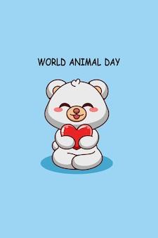 Simpatico orso polare con cuore nell'illustrazione del fumetto del giorno degli animali