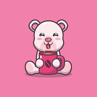 Simpatico orso polare con illustrazione vettoriale di caffè caldo cartone animato