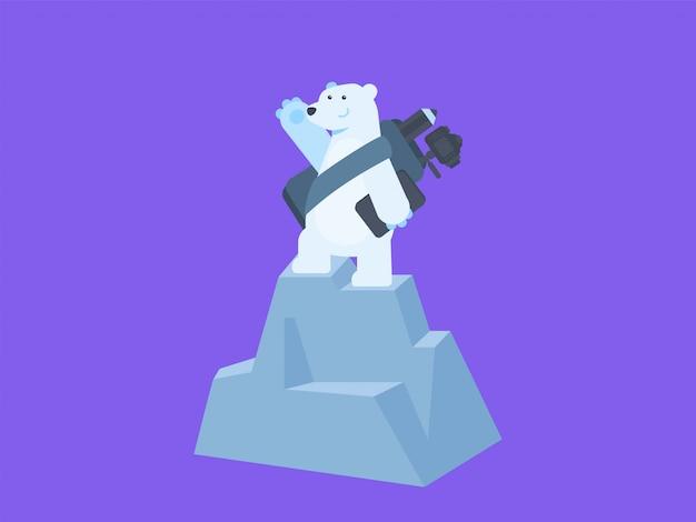 Simpatico orso polare con laptop e fotocamera concetto di vlogging illustrazione