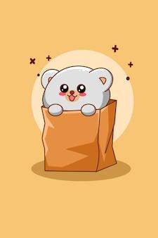 Simpatico orso polare con illustrazione di cartone animato tascabile