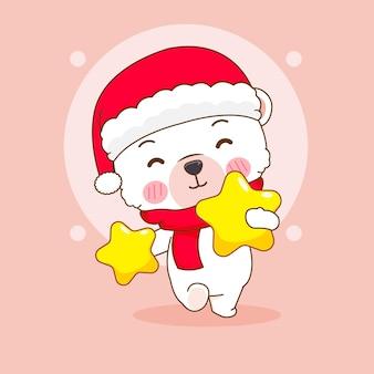 Simpatico orso polare con illustrazione di cartone animato stelle