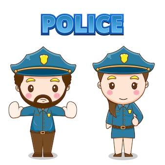 Simpatico personaggio della polizia Vettore Premium