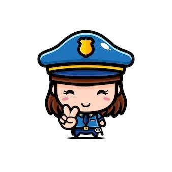 Disegno di carattere di ragazza carina polizia isolato su bianco
