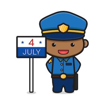 Simpatico cartone animato poliziotto con quattro di luglio illustrazione del segno