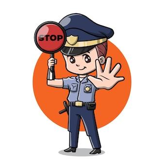 Simpatico cartone animato poliziotto