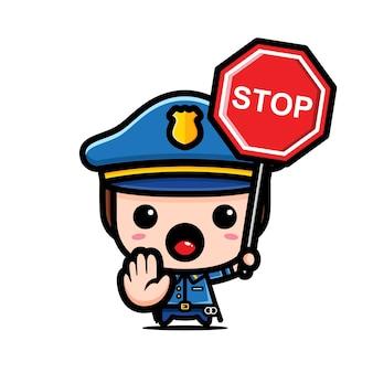 Simpatico poliziotto che tiene cartello simbolo di arresto