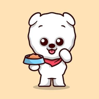 Il cane di pomerania sveglio sta portando una ciotola di mascotte del fumetto di cibo per cani.