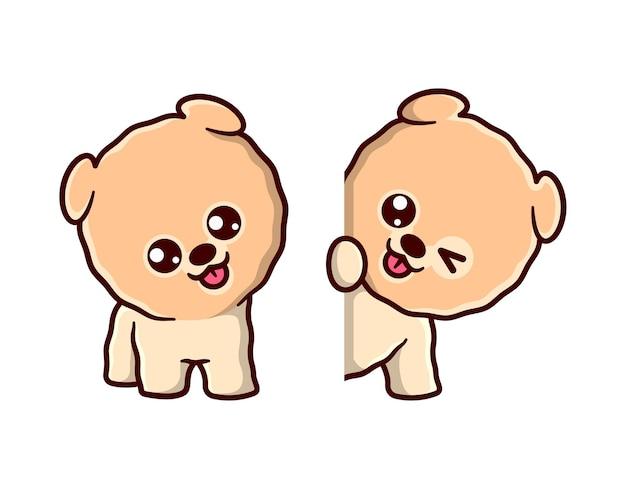 Sveglio cucciolo di pomerania sorride e mostra un adorabile set di mascotte fumetto di espressione del faccia