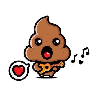Cacca carina sta suonando la chitarra