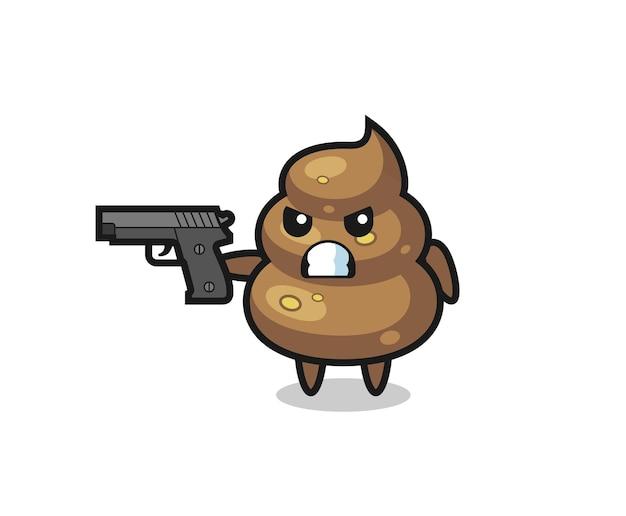 Il simpatico personaggio di cacca spara con una pistola, un design in stile carino per maglietta, adesivo, elemento logo