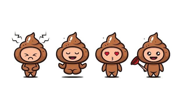 Illustrazione di design del personaggio della mascotte della cacca carina con sfondo bianco with
