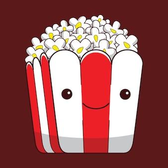 Simpatico personaggio popcorn in stile design piatto