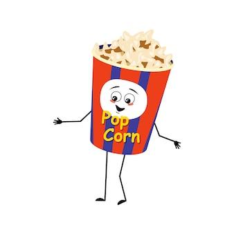 Simpatico personaggio di popcorn in una scatola per le vacanze con emozioni felici viso gioioso sorriso occhi braccia e gambe divertimento...