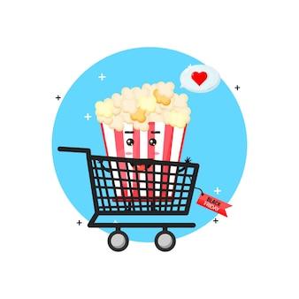 Simpatica mascotte di popcorn nel carrello con sconto venerdì nero