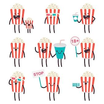 Simpatici popcorn e soda in personaggi dei cartoni animati del cinema impostati