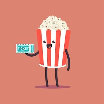 Popcorn carino con personaggio dei cartoni animati di vettore del biglietto del cinema isolato sullo spazio.