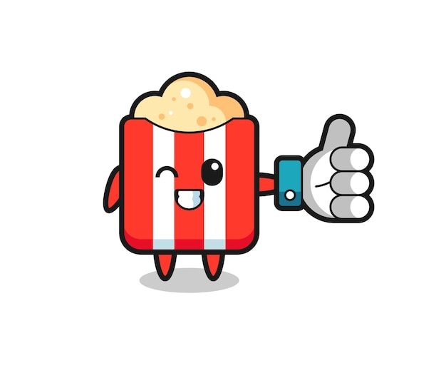 Popcorn carino con il simbolo del pollice in alto dei social media, design in stile carino per maglietta, adesivo, elemento logo