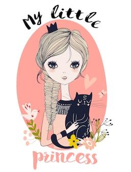 Simpatico ritratto di piccola principessa con gatto nero