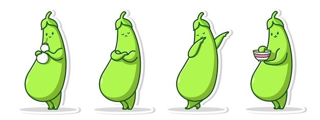 Simpatico personaggio in posa del set di melanzane