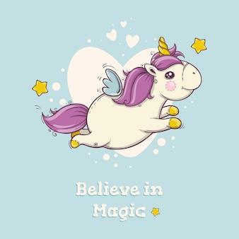 Cartolina carina con unicorno magico volante su sfondo blu con cuori. poster per bambini.