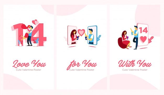 Illustrazione piatta san valentino poster carino