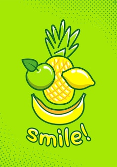 Simpatico poster con frutta e un sorriso di iscrizione. illustrazione del fumetto