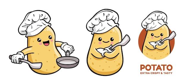 Simpatico personaggio dei cartoni animati di chef di patate