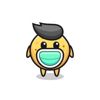 Simpatico cartone animato con patatine che indossa una maschera, design carino