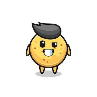 Simpatica mascotte di patatine con una faccia ottimista, un design carino