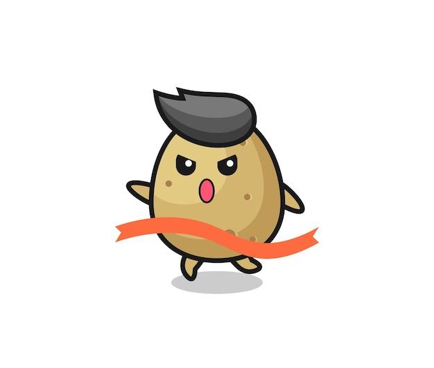 La simpatica illustrazione di patate sta raggiungendo il traguardo, design in stile carino per maglietta, adesivo, elemento logo