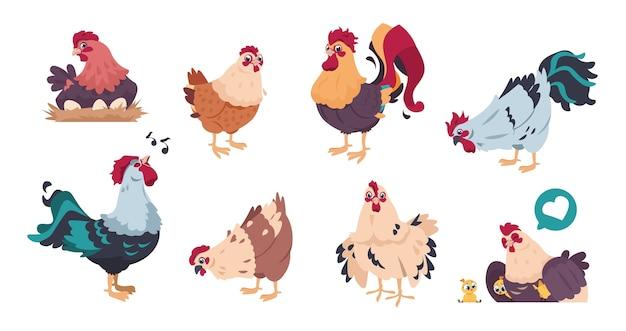 Simpatici personaggi di allevamento di pollame