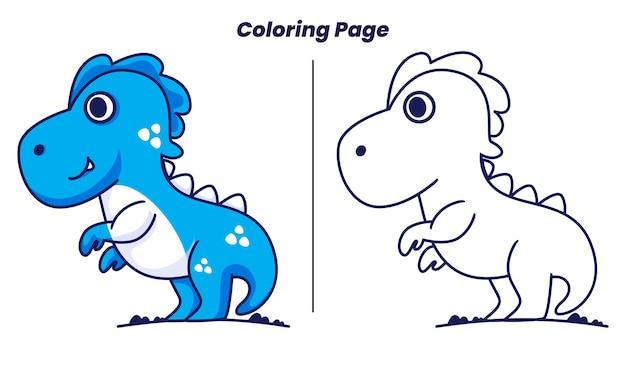 Simpatici dinosauri balzano con pagine da colorare