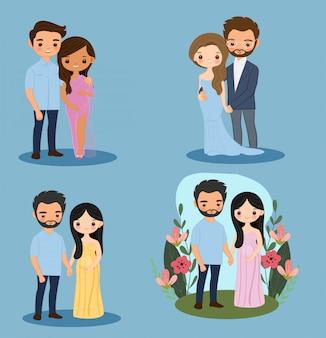 Set di personaggi dei cartoni animati carino ragazze incinte e coppia