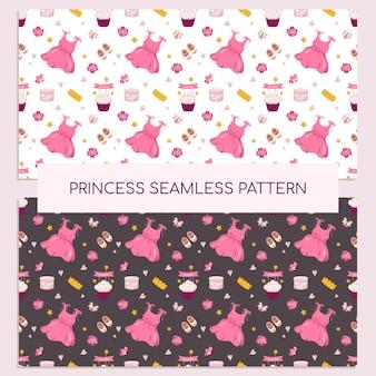 Simpatica stampa principessa con vestito, corona, cupcake e accessori. decorazioni natalizie per una neonata in rosa. adatto per cartoline, tessuti, carta da regalo e design. illustrazione vettoriale