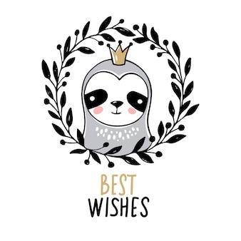 Simpatica principessa sloth, auguri di buon natale