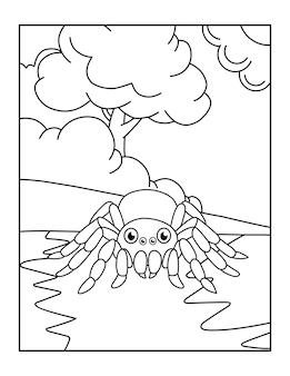 Ragno carino stampabile da colorare per bambini