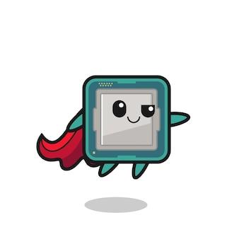 Il simpatico personaggio del supereroe del processore sta volando, design in stile carino per maglietta, adesivo, elemento logo